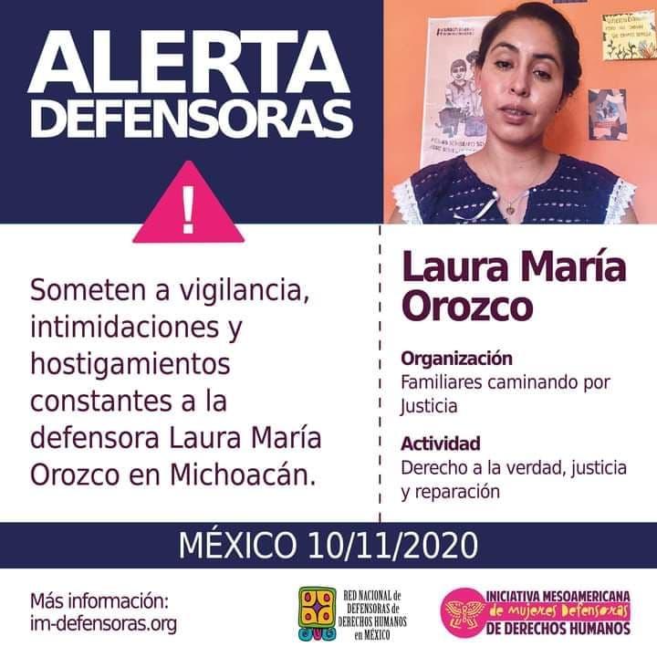 Activan Alerta por defensora Laura Orozco Medina, integrante de Familiares Caminando por Justicia en Michoacán
